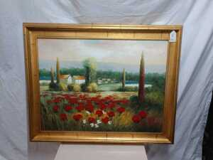 49 X 40 IMAX WILD FLOWER OIL PAINTING, VERY NICE FRAME AND PAINTING