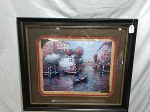 38 BY 43 BEAUTIFUL MATTED FRAMED ARTWORK, NAME IS VENICE AFTERNOON, VERY NICE QUALITY FRAME IN PAINTING