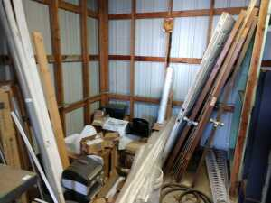 INSIDE BARN, LARGE REMODEL LOT TO INCLUDE DOORS, CEILING GRID, RESTROOM EXHAUST FAN, SIEMENS DISCONNECT, URNIAL AND MORE