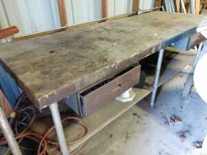 INSIDE BARN, 36X 96 WORKBENCH, THICK WOOD TOP WITH METAL FRAME