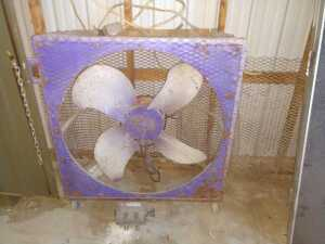 Barn,LARGE WAREHOUSE FAN, ON WHEELS, DAYTON MOTOR IS LAYING ON FLOOR, CONDITION UNKNOWN