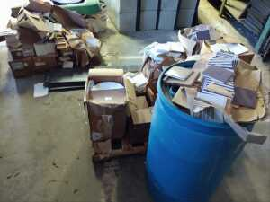 INSIDE BARN, LARGE LOT OF MISCELLANEOUS 4 X 4 TILE, WHITE AND PURPLE, SOME QUARRY TILE COVE BASE PIECES