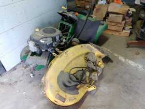 INSIDE BARN, JOHN DEERE 13 HORSEPOWER MOWER, CONDITION UNKNOWN, HAS BEEN USED FOR PARTS