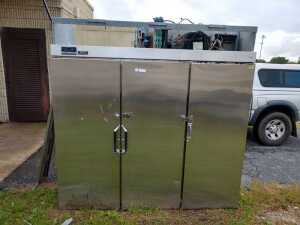 primary school outside, GLENCOE 3 DOOR FREEZER, CONDITION UNKNOWN, WILL NEED REPAIR