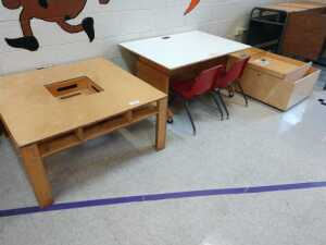 lunch room.SET OF 4 WOOD TABLES AND ROLLING STORAGE BINS