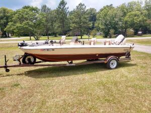 Fishing Boat, Very Good Condition,Trailer Is Dated 1986 And Boat Is believe To The Same Year,70 H.P.Johnson,Approx 16 Ft Long, Trolling Motor, Has Good Battery, Motors Does Start Up, Shoreline Brand Trailer, Please View Video Below