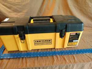 Craftsman tool box 26 in by 10 and 1/2 in x 10 in, includes all content, see pictures for more detail of content
