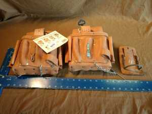 SET OF 2 CUSTOM LEATHERCRAFT TOOL POUCHES, AND ONE LEATHER HAMMER POUCH, LIKE NEW CONDITION