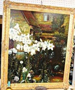 LARGE HEAVY OIL ON CANVAS - THICK ORNATE FRAME -  44 X 37