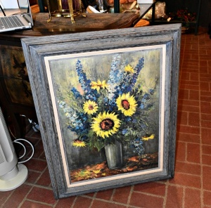 FRAMED SUNFLOWER PRINT - THICK WOOD FRAME - 31 X  25