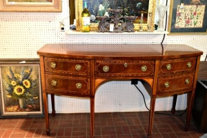 Baker Furniture Historic Charleston Collection Inlaid Satinwood and Mahogany BOW FRONT Sideboard Buffet