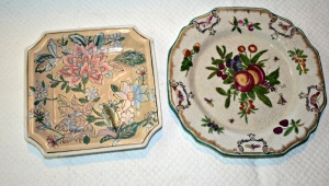 VINTAGE SIGNED PLATE FROM THE REPUBLIC OF CHINA AND SQUARE FLORAL DECORATIVE PLATE