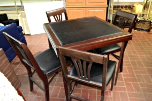 VERY NICE CUSHIONED FOLDING TABLE AND 4 CHAIRS