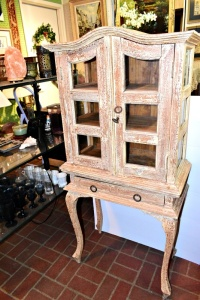 SHABBY CHIC 2 PIECE DISPLAY CABINET WITH SIDE GLASS AND FRONT - 52 X 24