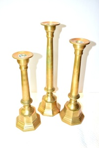 3 BRASS CANDLE STICKS