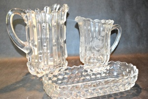 ANTIQUE GLASSWARE - 2 PITCHERS AND DISH