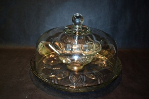 COVERED CRYSTAL DISH 12""