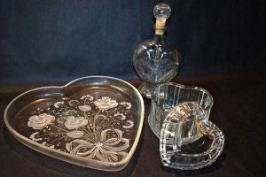 HEART SHAPED DECANTER AND TWO HEART SHAPED DISHES