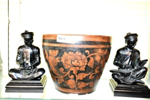 LARGE CLAY POTTERY PLANTER AND ASIAN FIGURINES (see photos for chips)