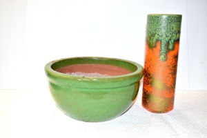 CLAY POTTERY  PLANTER AND RETRO VASE