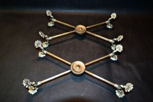 VINTAGE SILVER PLATE ADJUSTABLE CROSS DISH STANDS