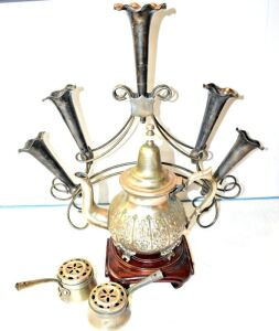 VINTAGE SILVER PLATE EPERGNE,  ANTIQUE DAR NAAMA SIGNED LIDDED POT (LID NOT ATTACHED) AND MORE