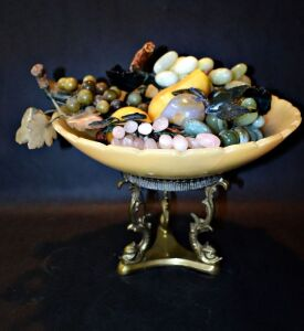 LARGE GENUINE STONE BOWL FILLED WITH GENUINE GEMSTONE FRUITS INCLUDING JADE