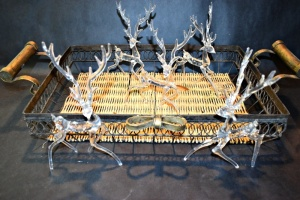 "HAND BLOWN GLASS DEER 9"" X 6"" AND VERY NICE 24"" METAL AND WICKER TRAY"