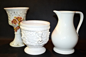 SIGNED PORCELAIN PLANTERS AND PITCHER