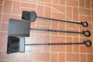 HEAVY WROUGHT IRON FIRE TOOLS WITH HOOK ENDS