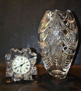MIKASA FINE CRYSTAL CLOCK AND VERY HEAVY LEAD CRYSTAL VASE