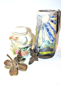 BUTTERFLY MAGNIFYING GLASS,  LARGE HANDMADE STEIN BY PAMELA RULLI, URN MADE JAPAN, AND MORE