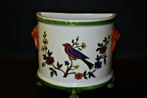 ITALIAN HAND PAINTED FOOTED HALF PLANTER OR WALL POCKET