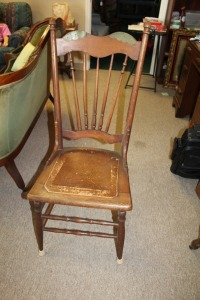 ANTIQUE LEATHER BOTTOM CHAIR