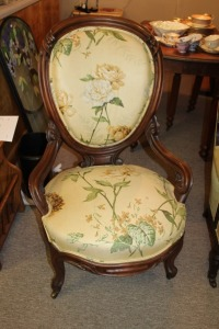 VICTORIAN LADIES CHAIR WITH OPEN ARMS LILY OF THE VALLEY