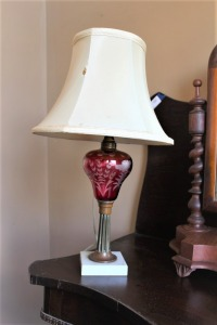 ANTIQUE CRANBERRY GLASS LAMP ON MARBLE BASE. C1870