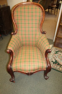ANTIQUE ENGLISH VICTORIAN MAHOGANY UPHOLSTERED CHAIR