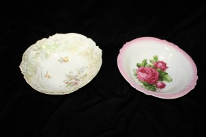 LOT OF TWO ANTIQUE SERVING BOWLS ONE FROM GERMANY WON FROM BAVARIA
