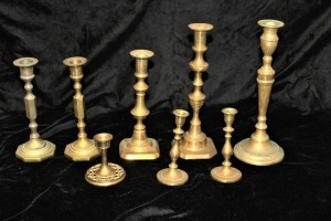 LOT OF 8 ANTIQUE SOLID BRASS CANDLESTICKS