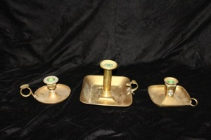 LOT OF 3 ANTIQUE BRASS CANDLESTICKS