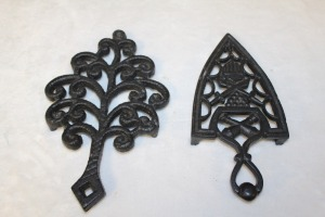LOT OF 2 CAST IRON TRIVETS