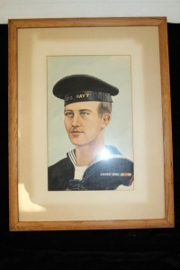 VINTAGE NAVAL WATERCOLOR PORTRAIT FROM THE 40S