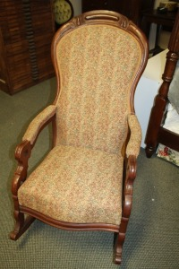 ANTIQUE VICTORIAN. MAHOGANY ROCKER