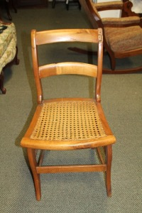 VINTAGE ANTIQUE CANE BOTTOM CHAIR