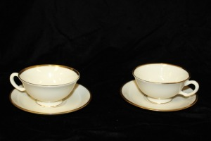 PAIR OF CUP AND SAUCER MANSFIELD BY LENOX