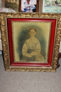 "ANTIQUE PORTRAIT OF A WOMAN 19TH CENTURY ""ANCESTORS PORTRAIT"" SET IN A COMPOSITION FRAME"