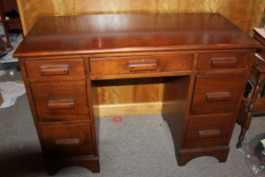 VINTAGE STUDENTS DESK 2 PEDESTAL WITH CENTER DRAWER