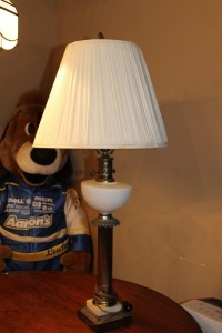 VINTAGE MILK GLASS AND BRASS LAMP