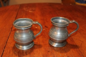 2 ENGLISH PEWTER 1/2 PINT MUGS MARKED V-R VICTORIA REGINA C1850 SANDERS & SON