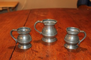 ANTIQUE ENGLISH PEWTER THREE-PIECE SET 19TH CENTURY WR LOFTUS HALF GIL LONDON